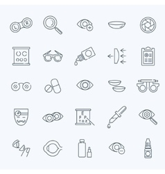 Oculist correction eyes health icons set vector