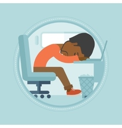 Overworked employee sleeping at workplace vector image vector image