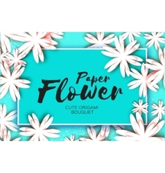 Paper cut flower greeting card Rectangle frame vector image