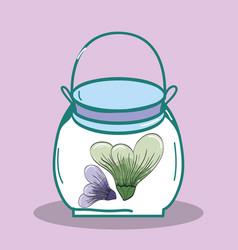 Petals inside jar nature botanic vector