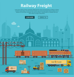 Railway freight delivery and logistics vector