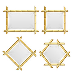 Realistic 3d detailed bamboo shoots frames set vector