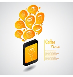 Ringing phone with bubbles of coffee vector