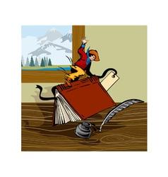 Rodeo Cowboy Riding Book Retro vector image