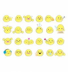 set of yellow smiles vector image vector image