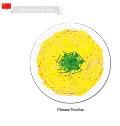 Stir fried chinese noodles with chopped scallion vector