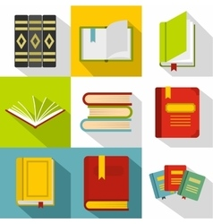 Textbooks icons set flat style vector