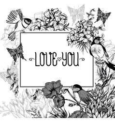 Vintage Monochrome Floral Greeting Card with Birds vector image vector image