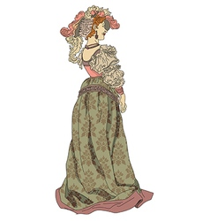 Retro woman from nineteenth century vector