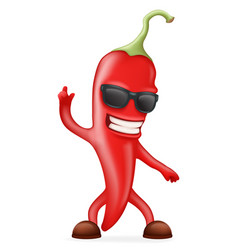 Hot chili pepper sunglasses happy character vector