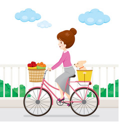 Young woman riding bicycle with fruits and dog vector