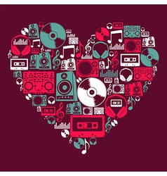 Dj music love heart vector
