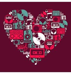 Dj music love heart vector