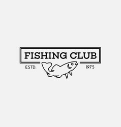 Fish logo in outline style vector