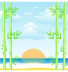 Sea and bamboo grove vector
