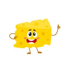 Funny cheese chunk character showing thumb up vector