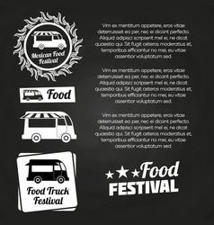 Chalkboard food festival poster design vector