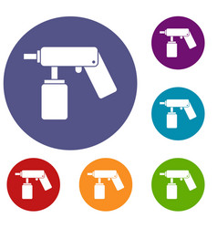 spray aerosol can bottle with a nozzle icons set vector image