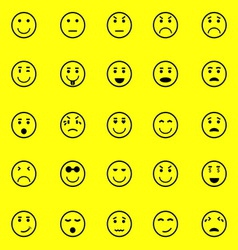 Circle face icons on yellow background vector