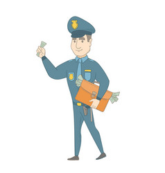 Caucasian policeman with briefcase full of money vector