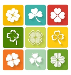 Set of shamrock and clover icons vector