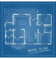 House plan blueprint doodle vector image