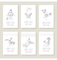 Cards with the image of birds in different actions vector