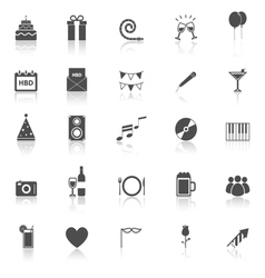 Birthday icons with reflect on white backgound vector