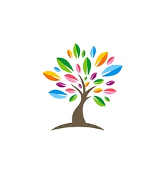 Colorful tree decorative beauty logo vector