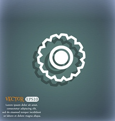 Cogwheel icon symbol on the blue-green abstract vector
