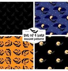 Set of four bats seamless patterns vector