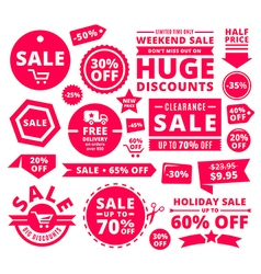 Modern discount sale tags badges and ribbons vector