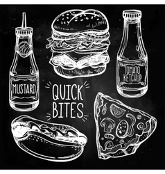 Fast food set vintage linear style vector