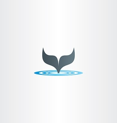 water wave and whale fish tail logo vector image