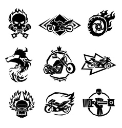 Bikers badges emblems icons vector