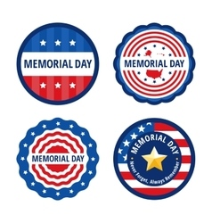 Memorial day color labels set vector image