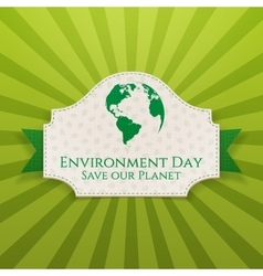 World environment day festive badge and ribbon vector