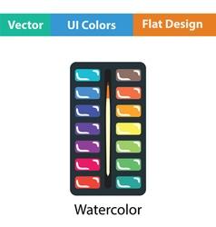Watercolor paint-box icon vector