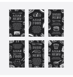 Hand drawn asian food cards vector
