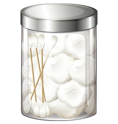A container with cotton balls and cotton buds vector