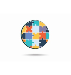 Abstract circle made of puzzle pieces vector image vector image