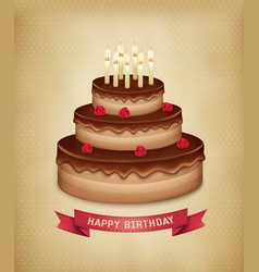 Background with birthday chocolate cake vector