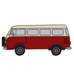 classic red minibus vector image vector image