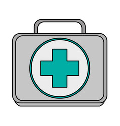 Colorful realistic image first aid kit with symbol vector