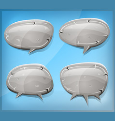 Comic stone and rock speech bubbles vector