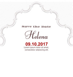 elegant white vintage card for an important date vector image vector image