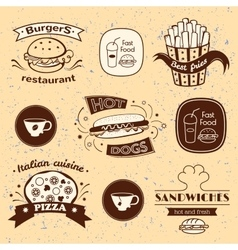 Fast food signs set vector image vector image