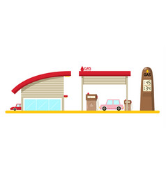 Flat design gas station with cars isolated on vector