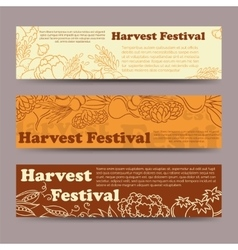 Harvest festival vegetable horizontal banners vector