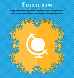 icon world sign Floral flat design on a blue vector image vector image